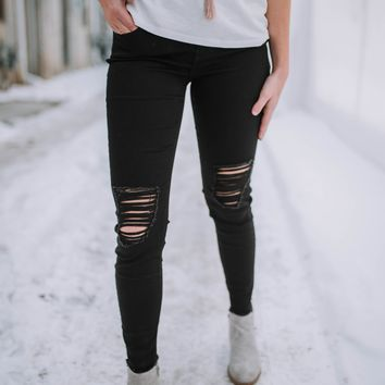 Miss Me Black Distressed Skinnies