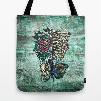 Beauty comes from within. Artistic anatomy rib cage and word play illustration. Green base. Tote Bag by Kristy Patterson Design