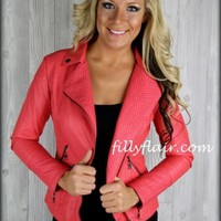 Always Tuff Enough Leatherette jacket in Coral: Filly Flair