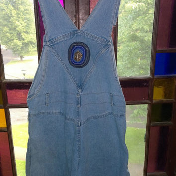 Vintage Retro Hippy Boho 1990s denim skort overalls with blue handmade ganesh patch fits like a size 8