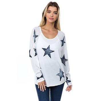 Star Batik Print Loose Top - White
