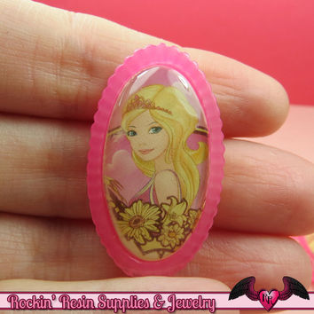 Pink PRINCESS Girl Decoden Kawaii Flatback Resin Cabochons 21x38mm