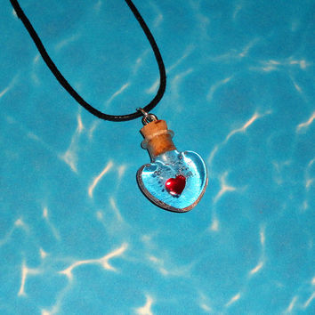 Zelda - Heart Container Potion - Bottle Charm Necklace