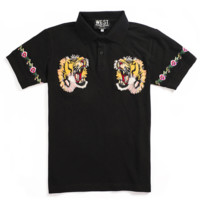 GUCCI New fashion embroidery tiger floral leaf lapel top t-shirt Black