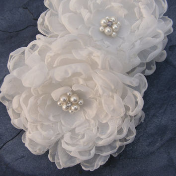 R300 Peony Bridal fabric flower for hair corsage or dress sash detail - one each