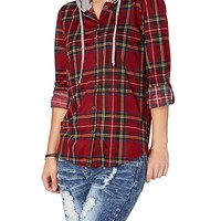 Hooded Red Plaid Shirt | rue21