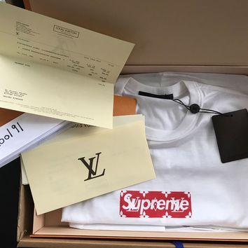 Louis Vuitton x Supreme White Red Monogram Box Logo 'BOGO' T Shirt