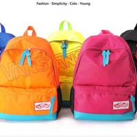VANS Fluorescent yellow-green medium and small schoolbag youth boy and girl backpack cute leisure sports bag