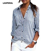 LASPERAL  Women Striped Long Sleeve Shirt Turn-Down Collar Loose Blusas Femme Autumn Fall Casual Tops Sexy Tee Plus Size 3XL