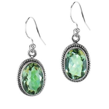 3.00 Ct Oval Natural Green Amethyst Sterling Silver Statement Earrings