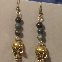 Brass Skull Earrings Black/Grey/Green Glass Marble Beads Hanging Dangling Earrings