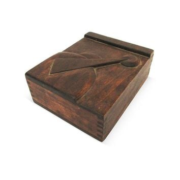 Pre-owned Midcentury High-Relief Carved Wood Box