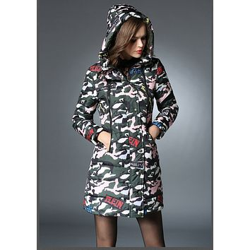 New 2016 Winter coat plus size fashion cute hooded Camouflage cotton-padded coat long warm thick padded women jacket 4XL 5xl