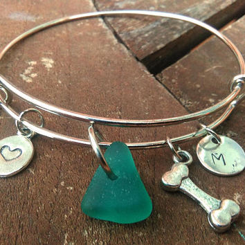 Dog Bone Bracelet, Pet Bracelet with Initial Name, Animal Lovers, Pet Jewelry, Teal Sea Glass Charm Bangle, Personalized Gift for Dog Lovers