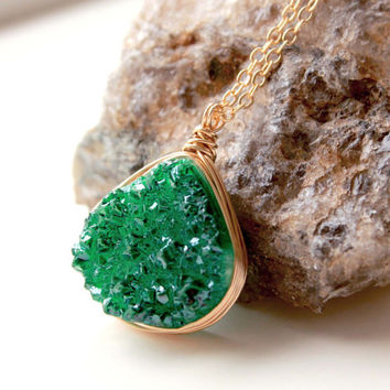 Emerald green druzy necklace in gold filled. Green emerald Agate pendant, wire wrapped in gold filled. Jewelry trends 2015. May Birthstone.