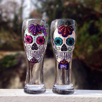Hand painted girl and boy beer glasses (set of 2)