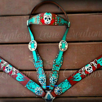 Custom Sugar skullz painted tack set