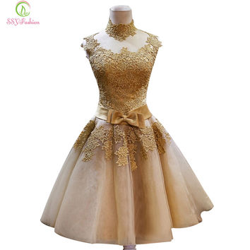 Short Lace Gold Evening Dresses SSYFashion Bride Princess Banquet Vintga High Neck Prom Dress Plus Size Custom Robe De Soiree
