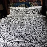 Indian Elephant Duvet Cover, Urban Mandala Throw, Bohemian Quilt Cover Double, Boho Doona Cover