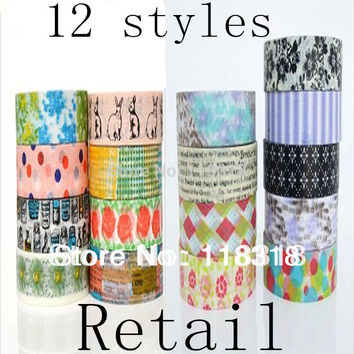 15 mm*5 m DIY Scrapbooking Washi Paper Tapes Photo Album Flowers Sticker Masking Tape Adhesive Tapes Birthday Wedding Decoration