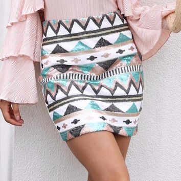 Aztec Print Sequin Pencil High Waist Mini Skirt