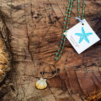 Sunrise Shell and Apatite Long Necklace