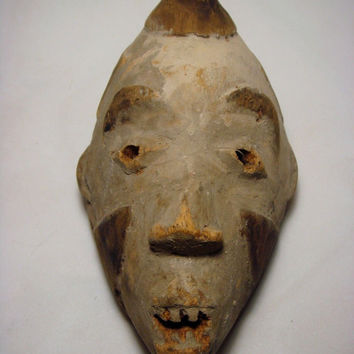 African Wood Tribal Mask Hand Carved Vuvi Tribe Ceremonial Art Rare Antique