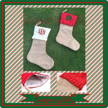 Monogrammed Christmas Stockings - Burlap Ruffled Personalized