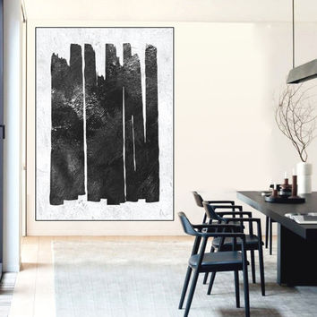 black and white geometric painting, large wall art painting, extra large wall art canvas, minimalist wall art, large abstract painting