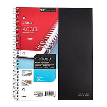 Staples® Accel, Durable Poly Cover 1 Subject Notebook, College Ruled, 8-1/2 x 11, Black (20950M-CC) | Staples