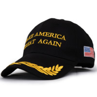 Olive American Flag Make America Great Again Embroidered Baseball Cap Hat for Summer