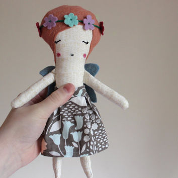 Little Fairy Doll with Flower Crown - Heirloom Cloth Art Mini Doll Faerie - Organic Cotton and Wool Blend Felt - by Liberty Lavender Dolls