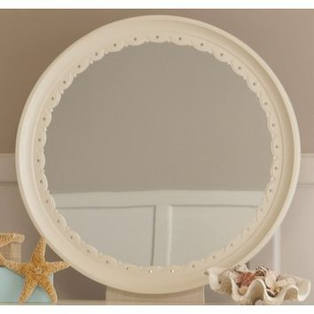 My Home Emily Round Mirror With Bevel Glass In Khaki White