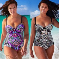 One Pieces Plus Size Large Cup Swimsuit High Waist BathingSuit