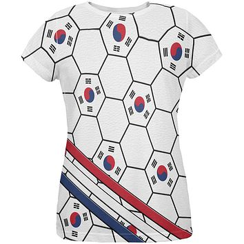 World Cup South Korea Soccer Ball All Over Womens T Shirt
