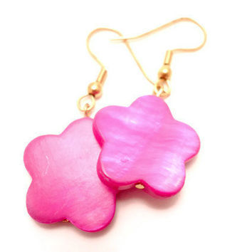 Earrings with Pink Mother of Pearl Pink Flowers by Septagram