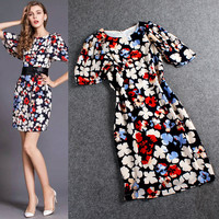 Flower Printed Zipper Back Butterfly Sleeve Mini Dress