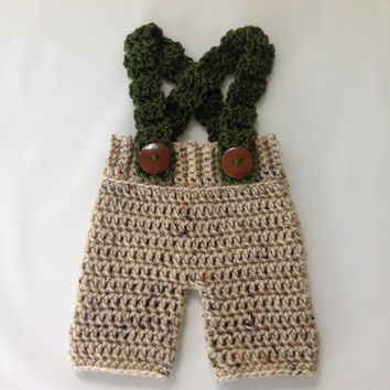 Baby Shorts - Crochet Baby Shorts with Suspenders - Newborn Shorts - Baby Boy Shorts - Newborn Boy Shorts - Infant Shorts