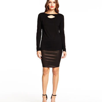 Michael Stars Long Sleeve Scoop Neck with Front Twist