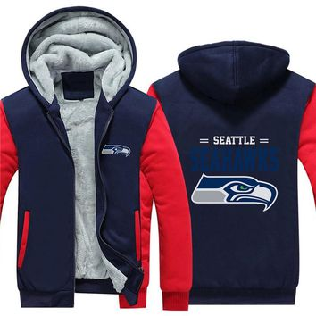 NFL American football Men's winter casual jacket Warm thicken hoodies Seattle Seahawks