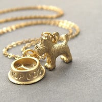 Scottie dog necklace, scotty dog, scottish terrier, gold dog charm necklace, gold plated chain