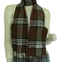Amazon.com: Super Soft Cashmere Feel Classic Plaid Tassel Ends Long Scarf (Brown): Clothing
