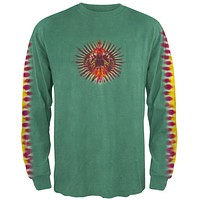 Green Pleated Sleeve Long Sleeve T-Shirt