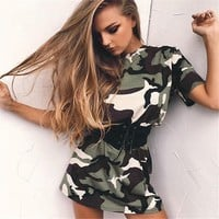 Short Sleeve Camouflage Print Mini Dress With Belt