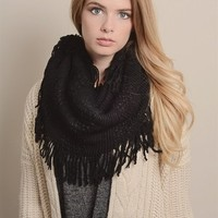 Cyber Monday Pointelle Fringe Infinity Scarf Black