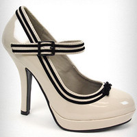 Cream Patent Pin-Up Heels | PLASTICLAND