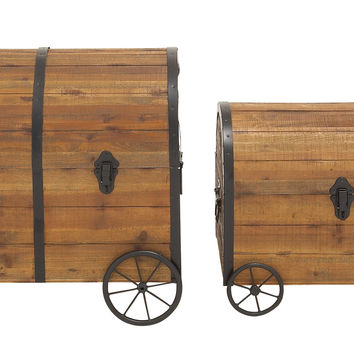 Vintage Themed And Unique Wood Metal Wheel Trunk Set Of 2