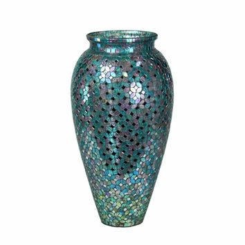 Adorning Mosaic Glass Vase, Blue By Benzara