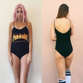 Spaghetti Strap Swimwear Print One Piece [211440041996]
