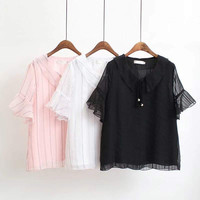 S67 Summer Casual Chiffon Blouses 4XL Plus Size Clothes flare sleeve Tops Fashion Pearl Women shirt 8120
